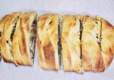 Broccoli mushroom braid baked and cut into pieces