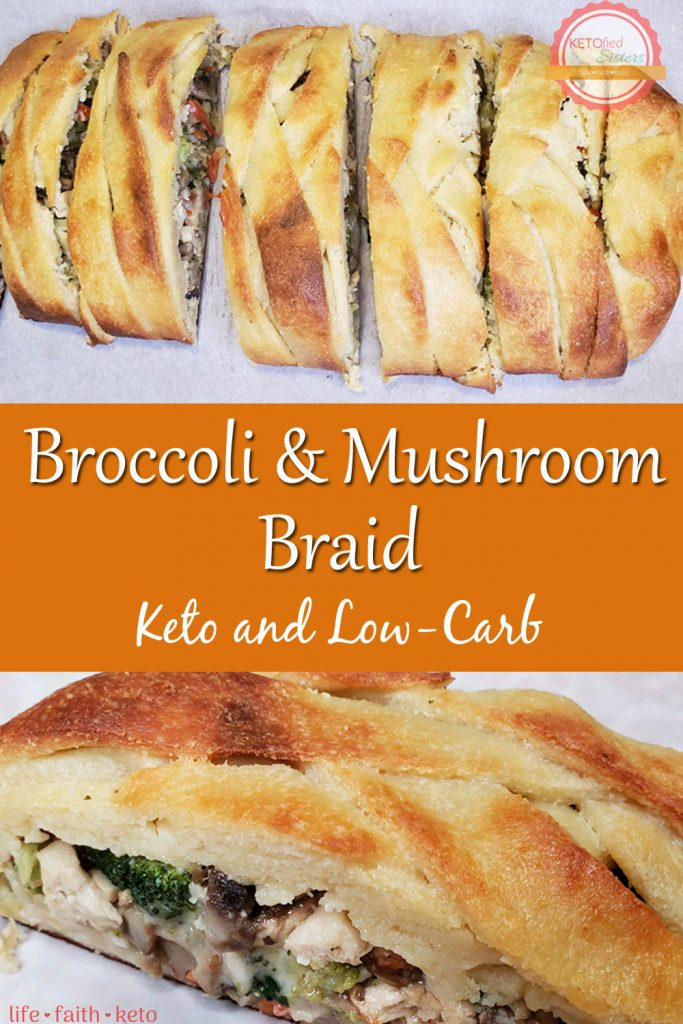 Broccoli and Mushroom Braid, Keto and Low-Carb Pinterest Image