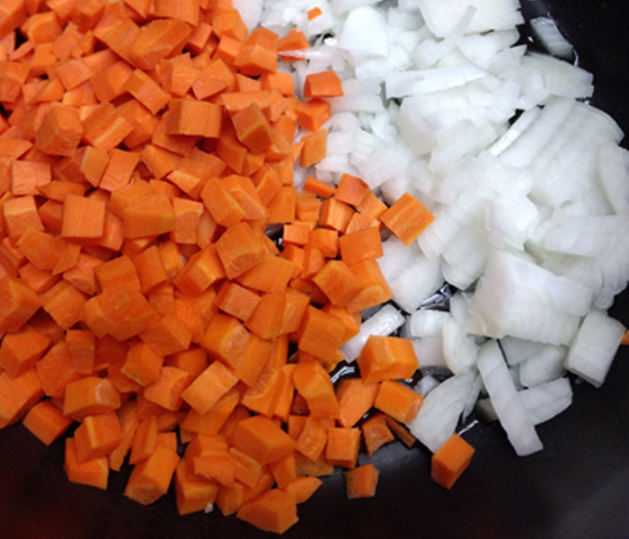 diced onions and carrots