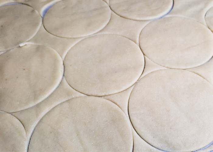 4 inch circles cut out of fathead dough